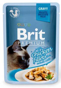 Πλήρης τροφή σε φακελάκι για γάτες με φιλέτο κοτόπουλου σε ζωμό.