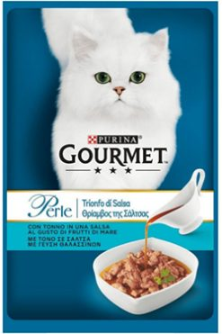 "Purina gourmet perle φιλετάκια ""θρίαμβος της σάλτσας"" τόνος 85 gr"