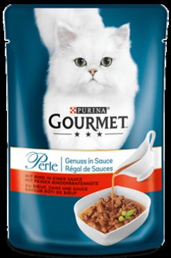 "Purina gourmet perle φιλετάκια ""θρίαμβος της σάλτσας"" βοδινό 85 gr"