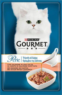 "Purina gourmet perle φιλετάκια ""θρίαμβος της σάλτσας"" σολομός 85 gr"