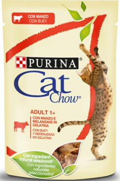 Purina cat chow adult βοδινό & μελιτζάνες 85 gr