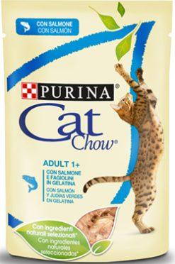Purina cat chow adult σολομός & πράσινο φασολάκι 85 gr